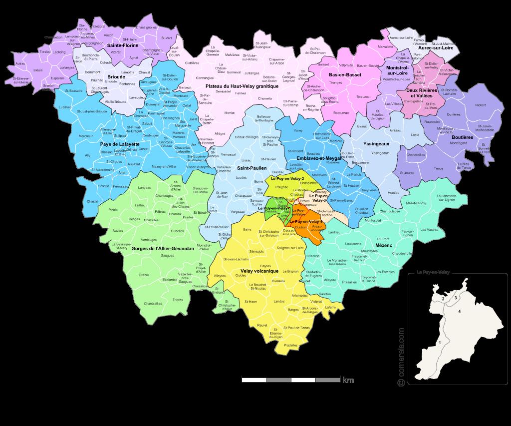 carte de la haute loire avec les communes Carte des nouveaux cantons de la Haute Loire avec villes et communes