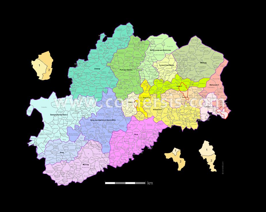 Carte des nouveaux cantons de la haute sa ne avec villes for 3966 haute saone