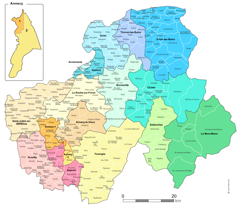 carte haute savoie avec communes Carte des nouveaux cantons de la Haute Savoie avec villes et communes