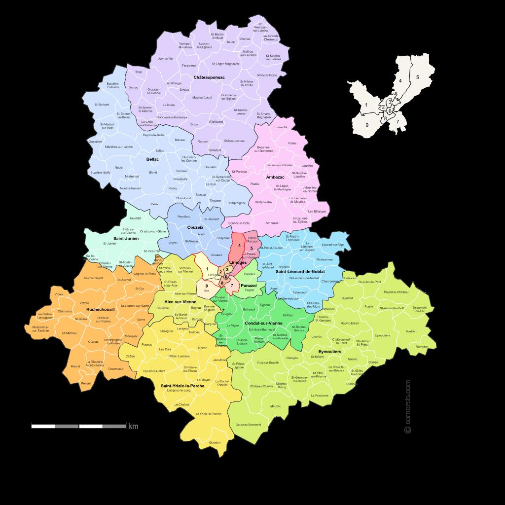 Communes et cantons 2018 de la Haute-Vienne