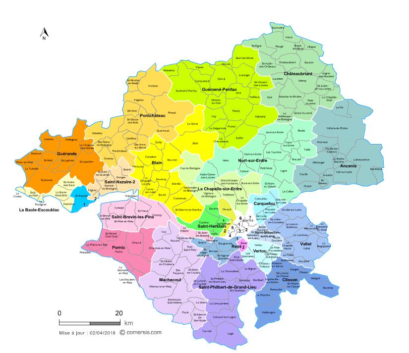 Communes et cantons 2018 de la Loire-Atlantique