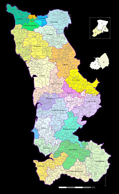 Communes et cantons 2018 de la Manche