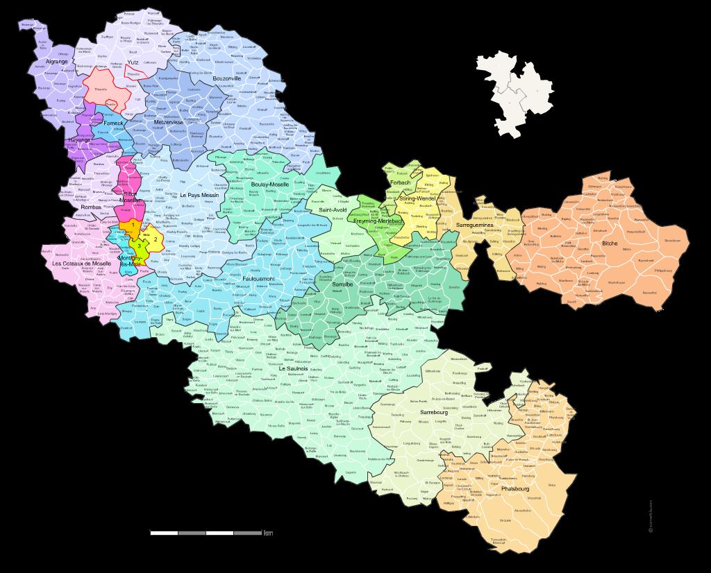 Carte des nouveaux cantons de la moselle avec villes et for Code postal moselle