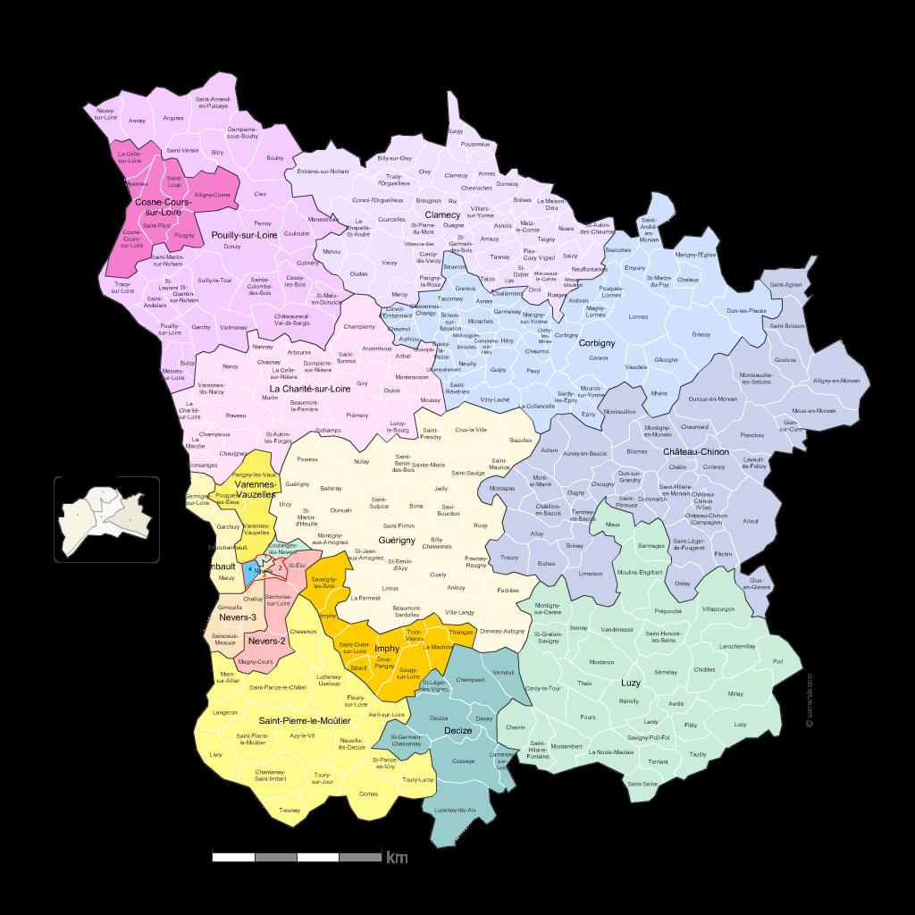 Communes et cantons 2018 de la Nièvre