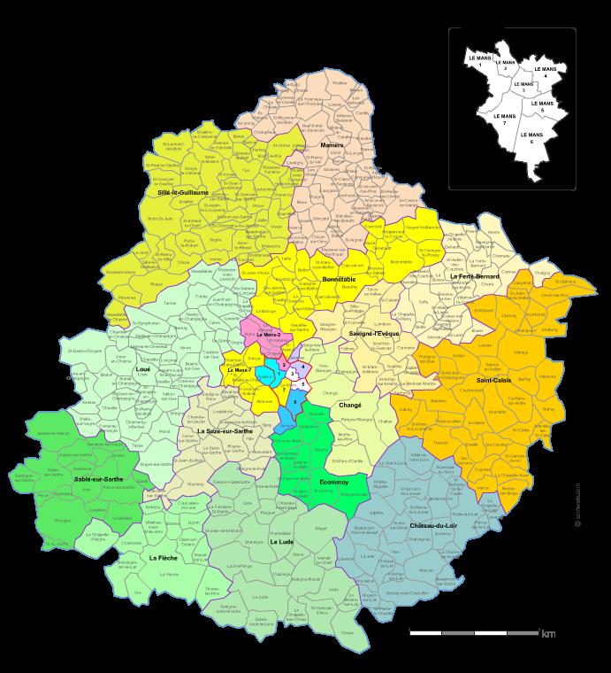 Communes et cantons 2018 de la Sarthe