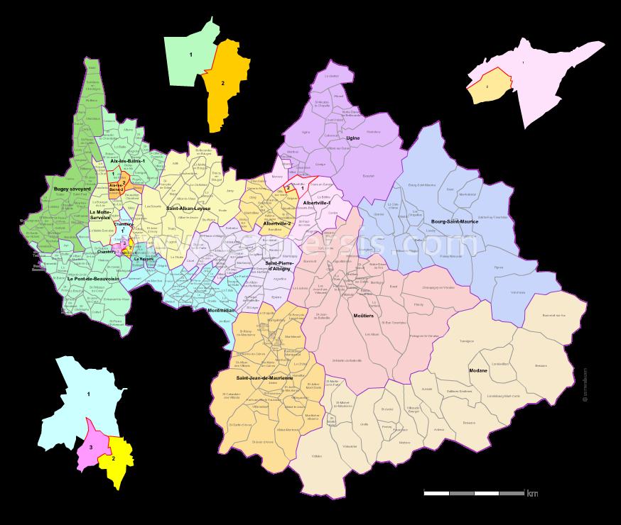 Carte des nouveaux cantons de la Savoie avec villes et communes