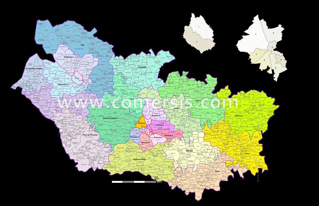 carte de la somme avec les communes Carte des nouveaux cantons de la Somme avec villes et communes