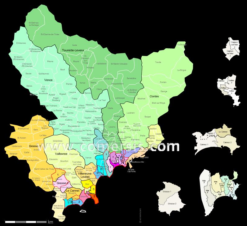 Communes et cantons 2018 des Alpes-Maritimes