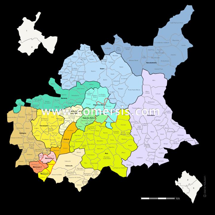 Communes et cantons 2018 des Alpes-de-Haute-Provence
