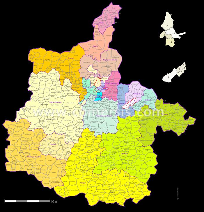 Communes et cantons 2018 des Ardennes