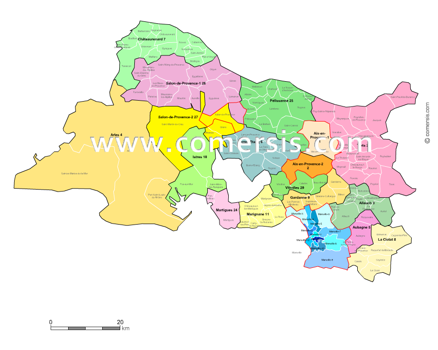 Carte des nouveaux cantons des bouches du rh ne avec for Region bouche du rhone