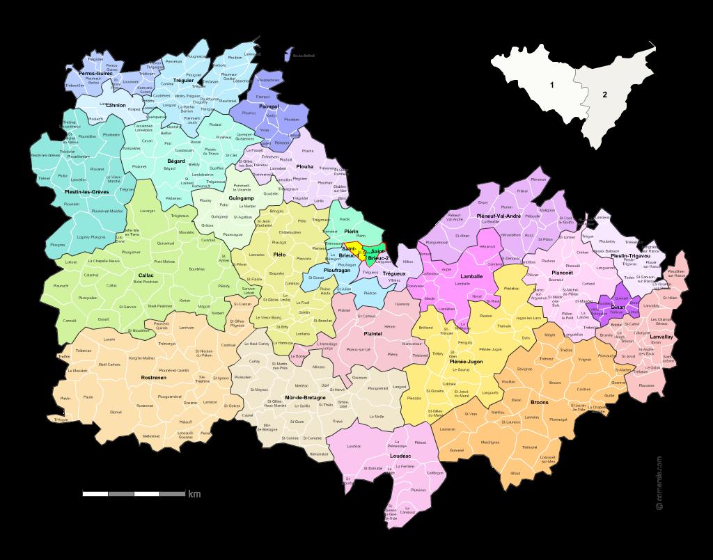 carte des cotes d armor avec les communes Carte des nouveaux cantons des Côtes d'Armor avec villes et communes