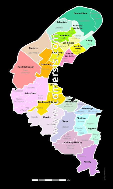 haut de seine carte Carte des nouveaux cantons des Hauts de Seine avec villes et communes