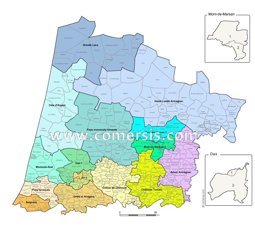 Landes counties map with names ( France ) for Word and Excel.