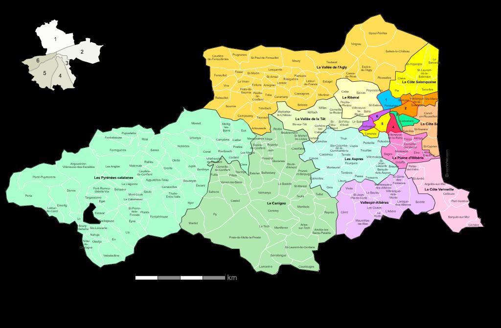 Communes et cantons 2018 des Pyrénées-Orientales