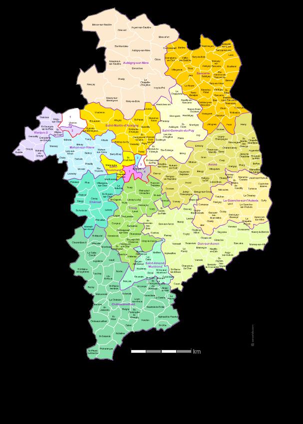 Communes et cantons 2018 du Cher