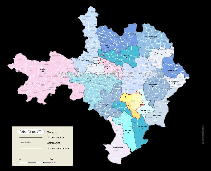 Communes et cantons 2018 du Gard