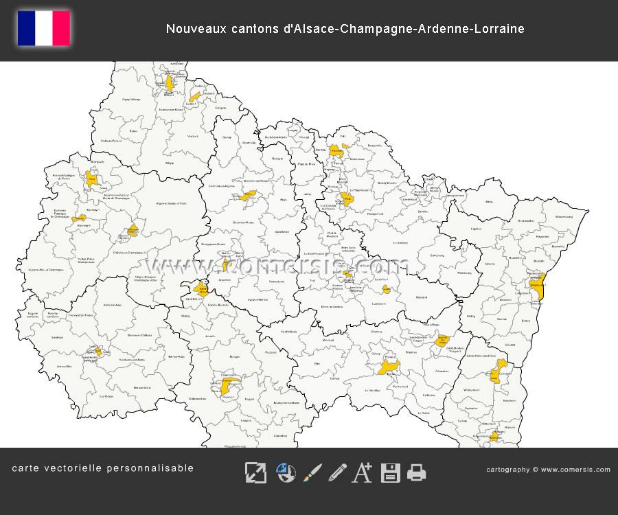 Carte des nouveaux cantons du Grand-Est