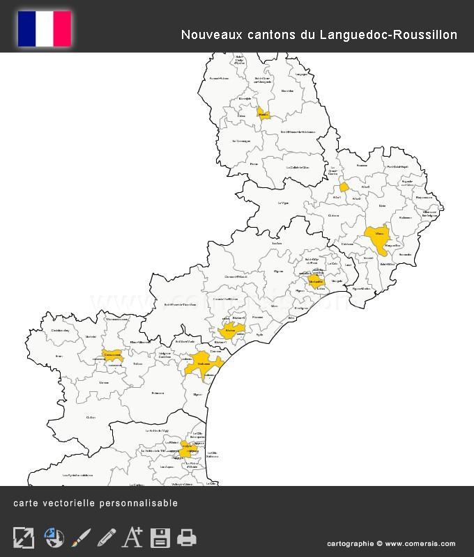 Carte des nouveaux cantons du Languedoc-Roussillon