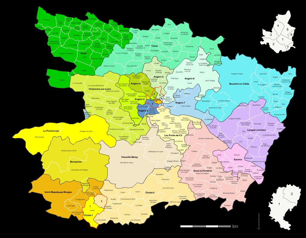Communes et cantons 2018 du Maine-et-Loire