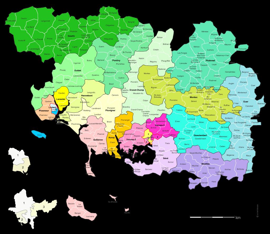 Communes et cantons 2018 du Morbihan