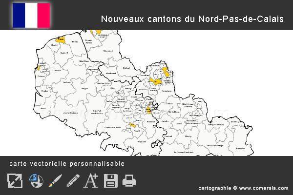 Carte des nouveaux cantons du Nord-Pas-de-Calais
