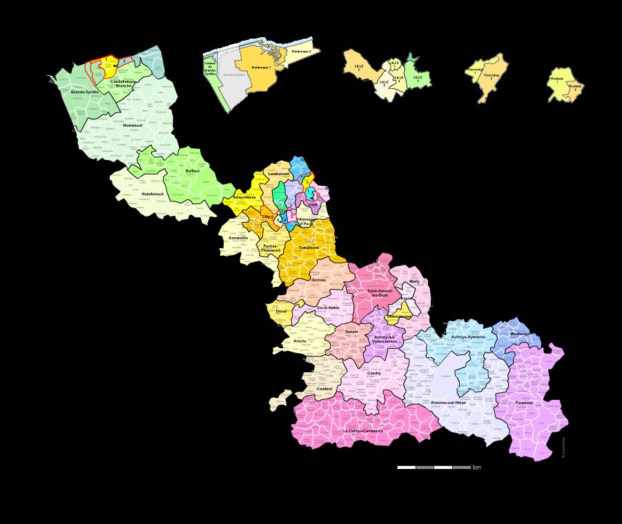 Communes et cantons 2018 du Nord