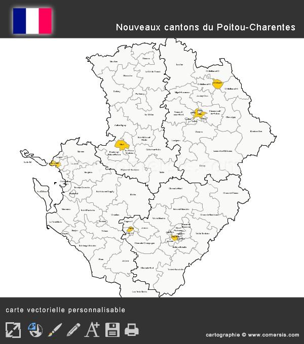 Carte des nouveaux cantons du Poitou-Charentes