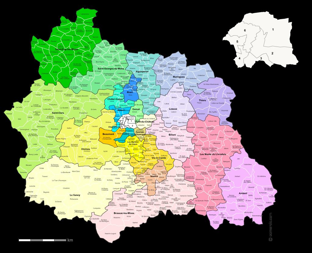 Communes et cantons 2018 du Puy-de-Dôme