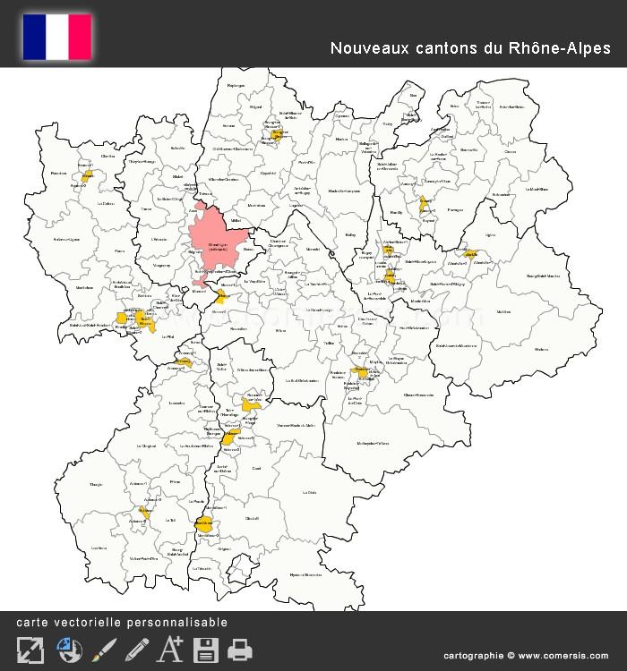Carte des nouveaux cantons du Rhône-Alpes