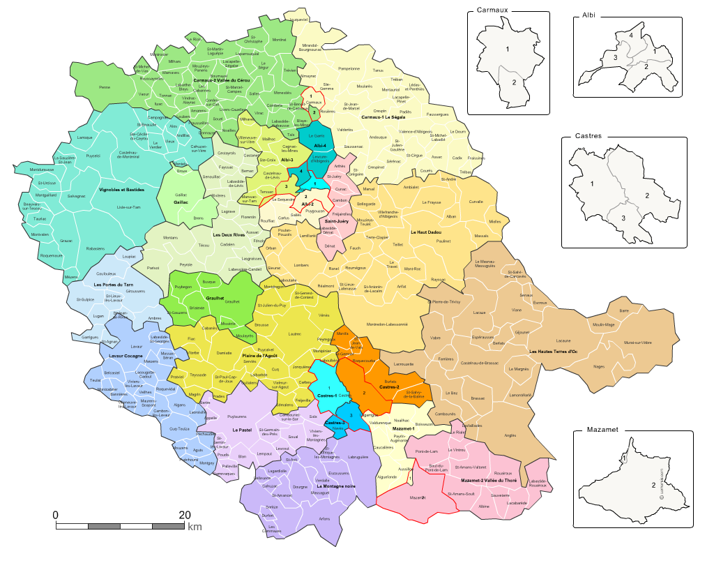 Communes et cantons 2018 du Tarn