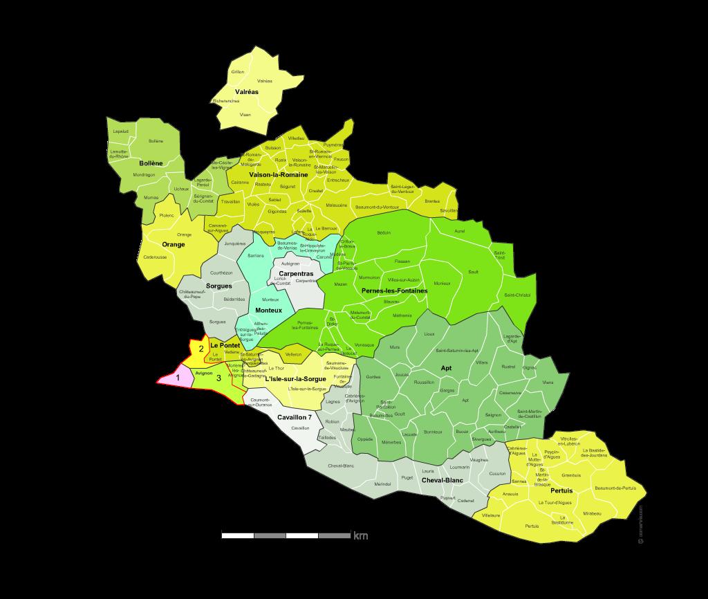carte du vaucluse avec villes Carte des nouveaux cantons du Vaucluse avec villes et communes