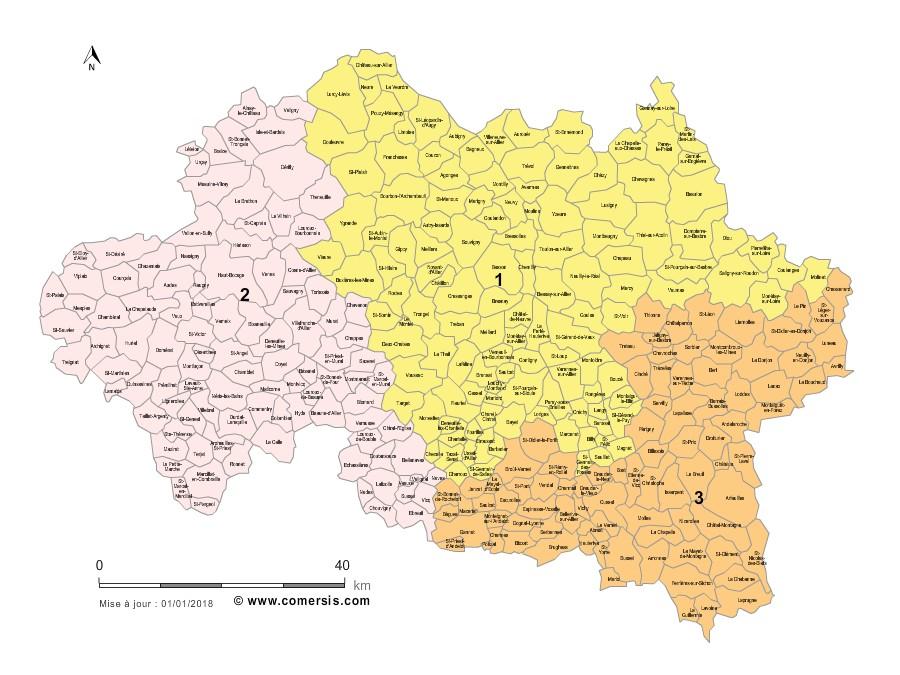 Communes et Circonscriptions 2018 de l'Allier