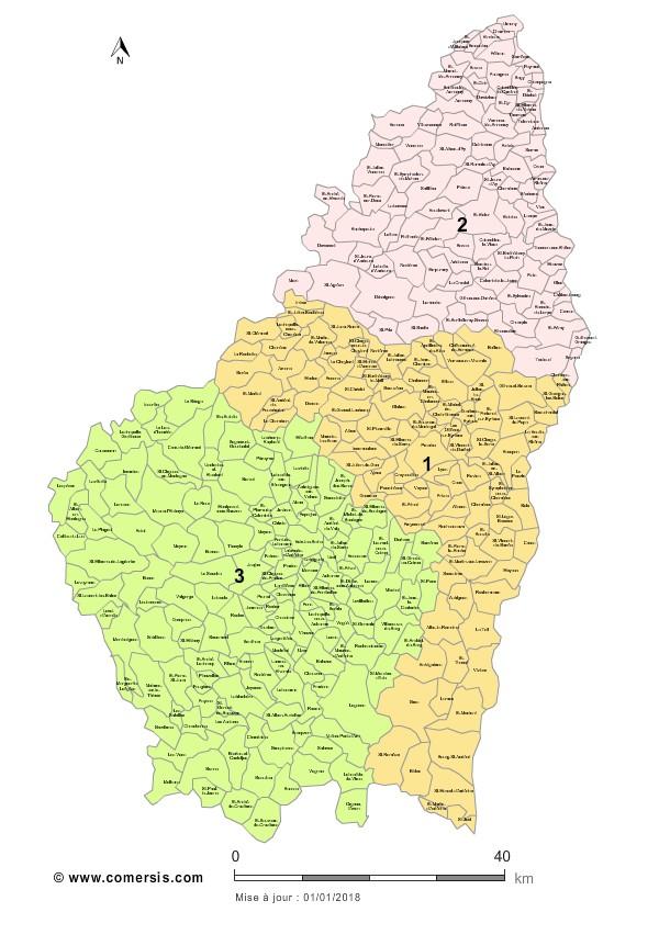 Communes et Circonscriptions 2018 de l'Ardèche