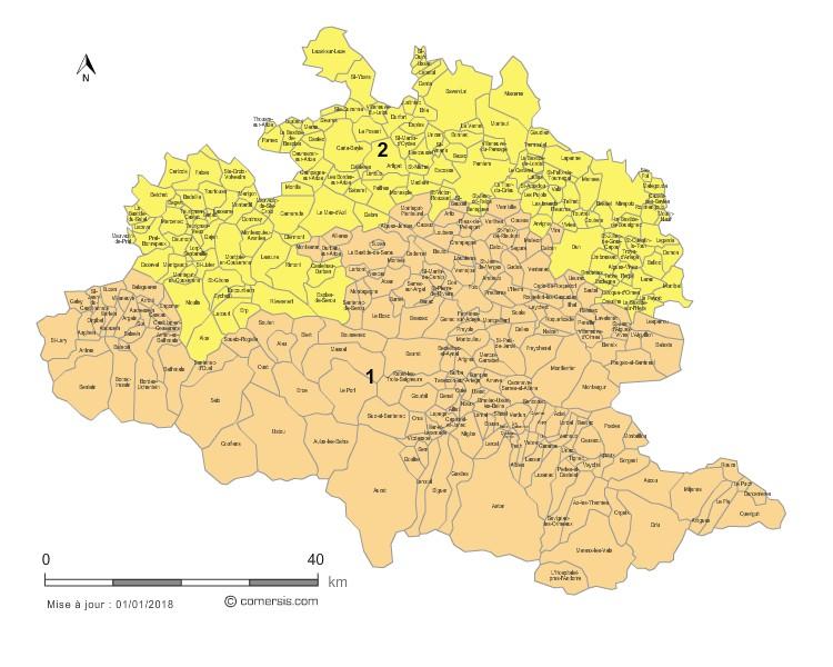 Communes et Circonscriptions 2018 de l'Ariège