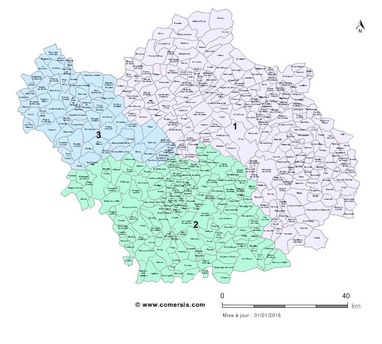 Communes et Circonscriptions 2018 de l'Aube