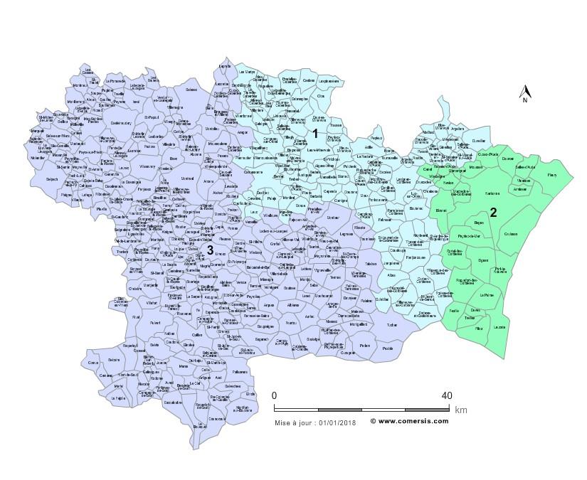 Communes et Circonscriptions 2018 de l'Aude