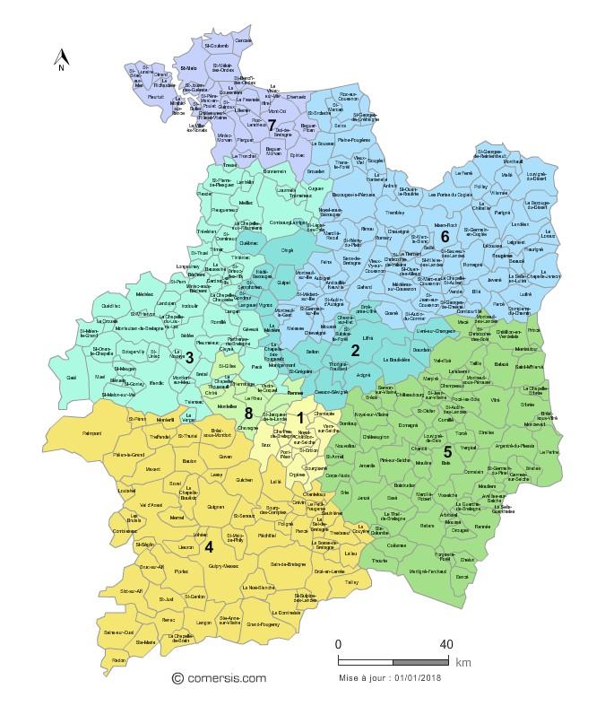 Communes et Circonscriptions 2018 de l'Ille-et-Vilaine