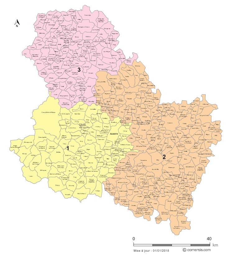 Communes et Circonscriptions 2018 de l'Yonne