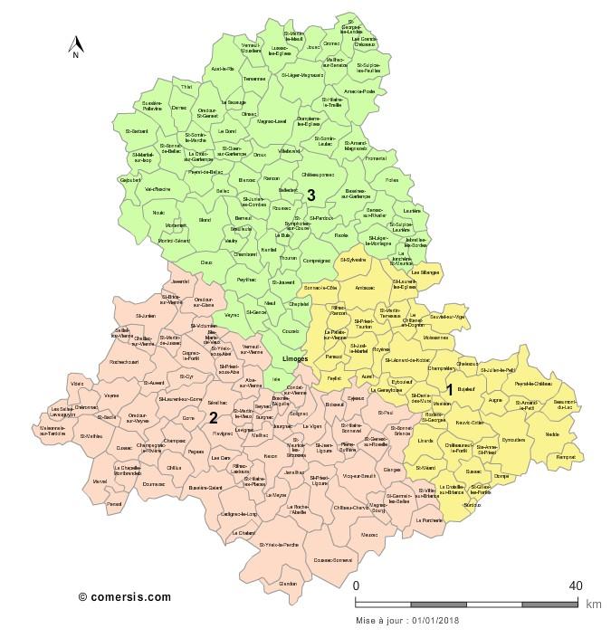 Communes et Circonscriptions 2018 de la Haute-Vienne