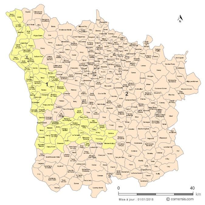 Communes et Circonscriptions 2018 de la Nièvre