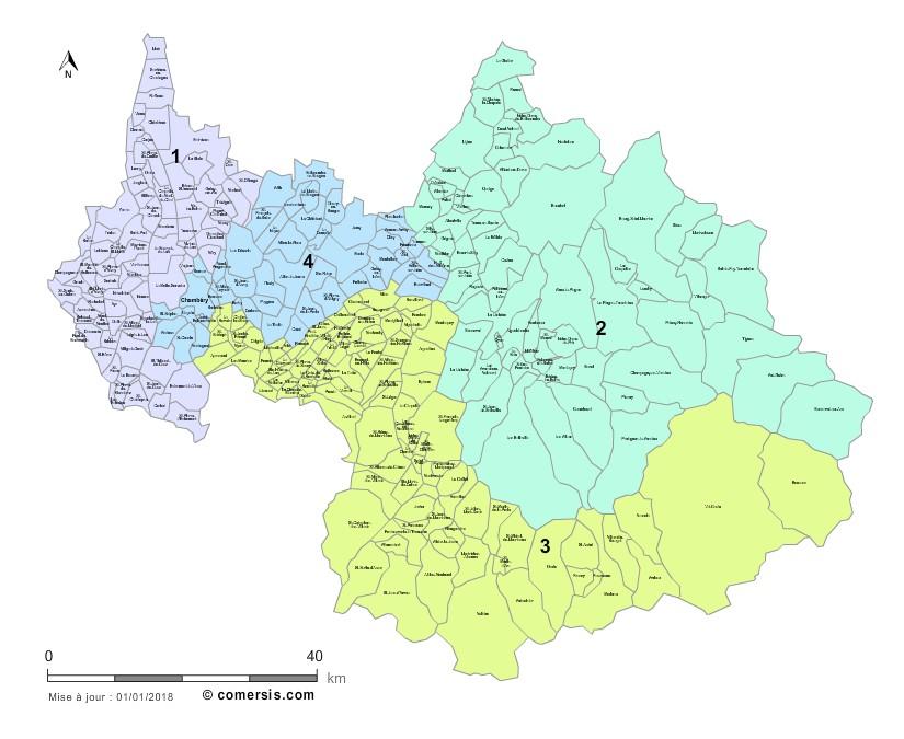 Communes et Circonscriptions 2018 de la Savoie