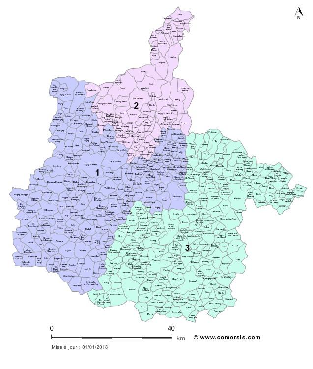 Communes et Circonscriptions 2018 des Ardennes