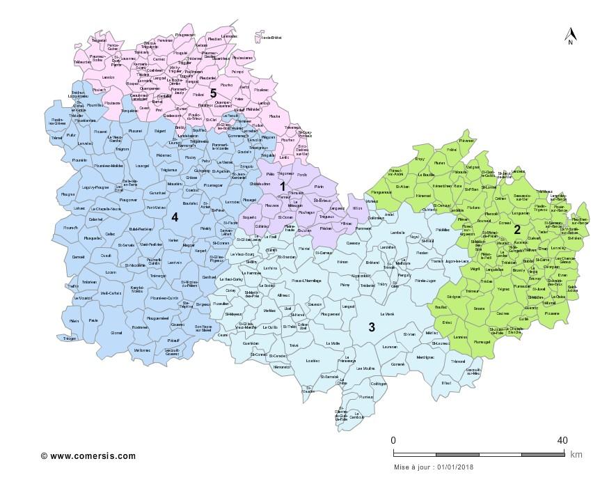 carte cotes d armor Carte des circonscriptions des Côtes d'Armor