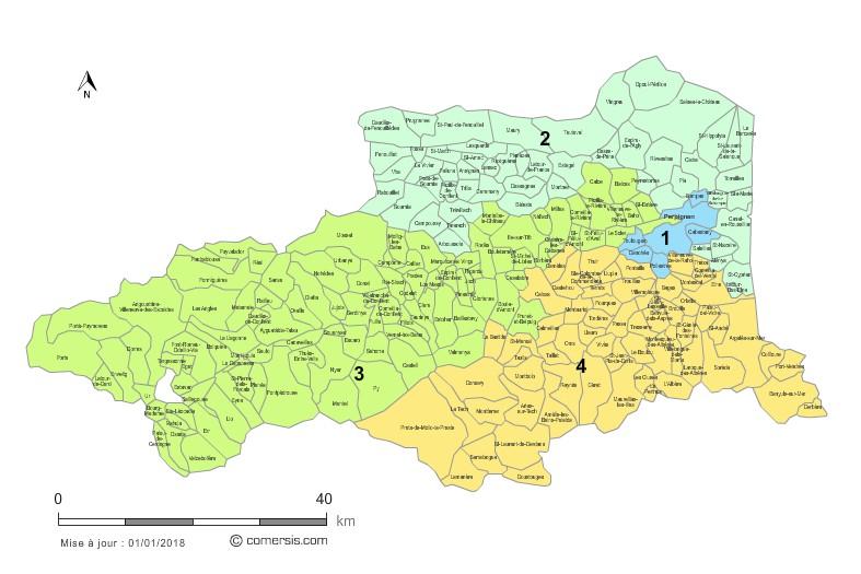 Communes et Circonscriptions 2018 des Pyrénées-Orientales