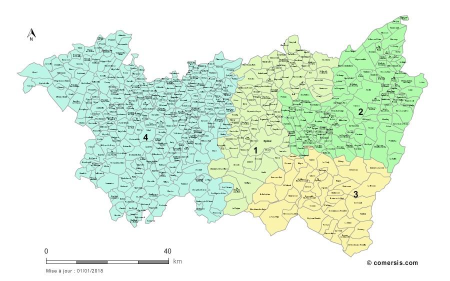 Communes et Circonscriptions 2018 des Vosges