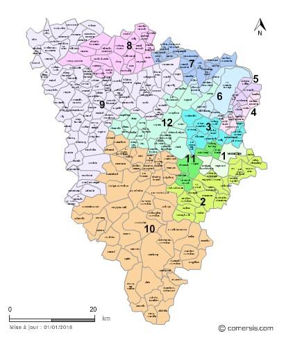 Communes et Circonscriptions 2018 des Yvelines