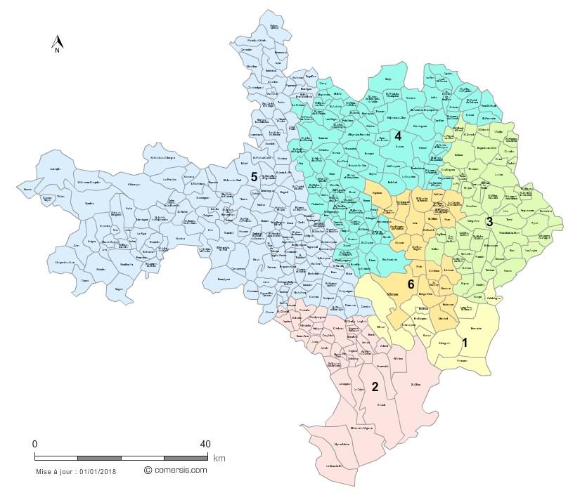 carte des circonscriptions du gard Les 6 circonscriptions du Gard