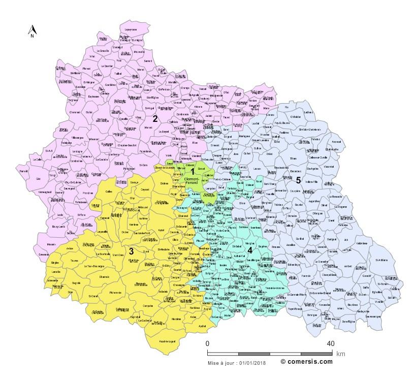 Communes et Circonscriptions 2018 du Puy-de-Dôme
