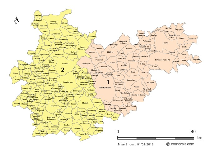 Communes et Circonscriptions 2018 du Tarn-et-Garonne